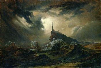 Reprodução do quadro Stormy sea with Lighthouse