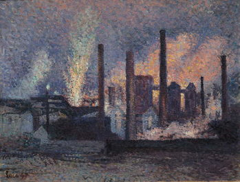 Reprodução do quadro Study for Factories near Charleroi, 1897