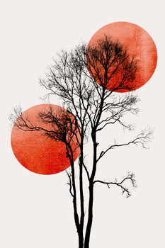Ilustração Sun and Moon hiding