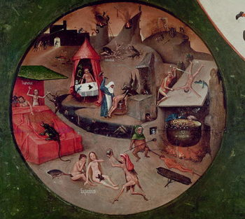 Reprodução do quadro Tabletop of the Seven Deadly Sins and the Four Last Things, detail of Hell, c.1480