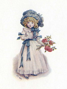 Reprodução do quadro 'Taking in the roses' by Kate Greenaway.