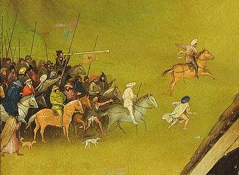Reprodução do quadro The Adoration of the Magi, detail of the background, 1510 (oil on panel)