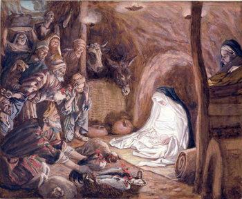 Reprodução do quadro The Adoration of the Shepherds, illustration for 'The Life of Christ', c.1886-94