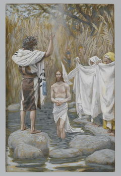 Reprodução do quadro The Baptism of Jesus, illustration from 'The Life of Our Lord Jesus Christ'