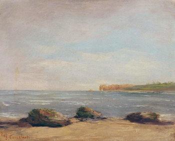 Reprodução do quadro The Beach at Etretat, 1872