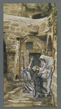 Reprodução do quadro The Blind of Capernaum, illustration from 'The Life of Our Lord Jesus Christ'