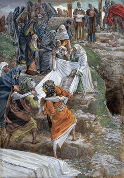 Reprodução do quadro The Body of Jesus Carried to the Anointing Stone, illustration for 'The Life of Christ', c.1886-94