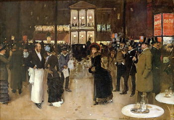Reprodução do quadro The Boulevard at Night, in front of the Theatre des Varietes, c.1883