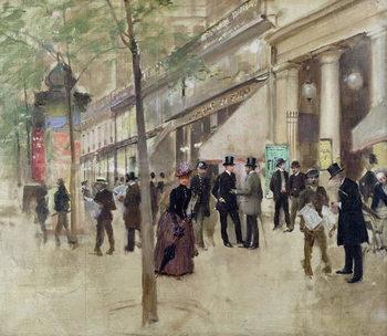 Reprodução do quadro The Boulevard Montmartre and the Theatre des Varietes, c.1886
