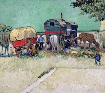 Reprodução do quadro The Caravans, Gypsy Encampment near Arles, 1888