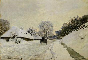 Reprodução do quadro The Cart, or Road under Snow at Honfleur, 1865
