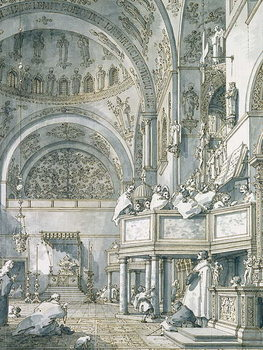 Reprodução do quadro The Choir Singing in St. Mark's Basilica, Venice, 1766