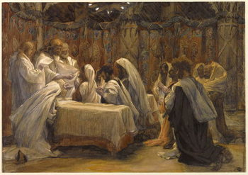 Reprodução do quadro The Communion of the Apostles, illustration for 'The Life of Christ', c.1884-96