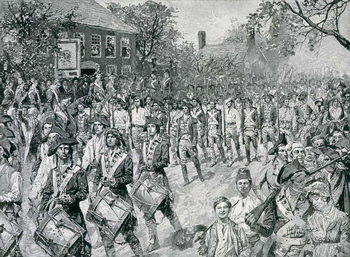 Reprodução do quadro The Continental Army Marching Down the Old Bowery, New York, 25th November 1783, illustration from 'The Evacuation, 1783' by Eugene Lawrence, pub. in Harper's Weekly, 24th November 1883