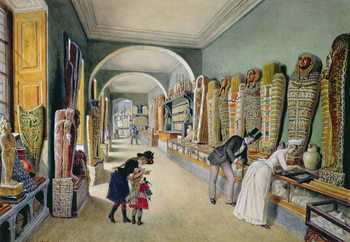 Reprodução do quadro The Corridor and the last Cabinet of the Egyptian Collection in the Ambraser Collection of the Lower Belvedere, 1875