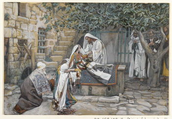 Reprodução do quadro The Daughter of Jairus, illustration from 'The Life of Our Lord Jesus Christ'