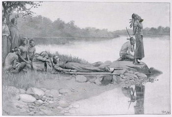 Reprodução do quadro The Death of Indian Chief Alexander, Brother of King Philip, illustration from 'An Indian Journey' by Lucy C. Lillie, pub. in Harper's Magazine, 1885