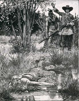 Reprodução do quadro The Death of King Philip, engraved by A. Hayman, from Harper's Magazine, 1883