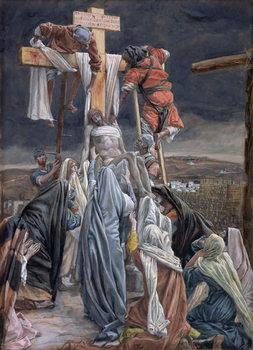 Reprodução do quadro The Descent from the Cross, illustration for 'The Life of Christ', c.1884-96