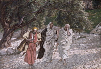 Reprodução do quadro The Disciples on the Road to Emmaus, illustration for 'The Life of Christ', c.1884-96
