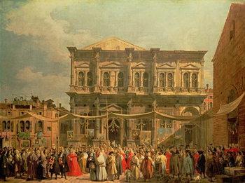 Reprodução do quadro The Doge Visiting the Church and Scuola di San Rocco, c.1735