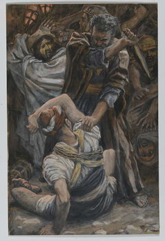 Reprodução do quadro The Ear of Malchus, illustration from 'The Life of Our Lord Jesus Christ', 1886-94