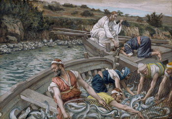Reprodução do quadro The First Miraculous Draught of Fish, illustration for 'The Life of Christ', c.1886-94