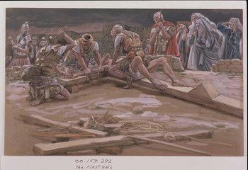 Reprodução do quadro The First Nail, illustration for 'The Life of Christ', c.1886-96