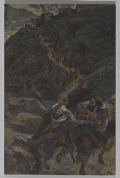 Reprodução do quadro The Flight of the Apostles, illustration from 'The Life of Our Lord Jesus Christ', 1886-94