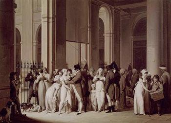 Reprodução do quadro The Galleries of the Palais Royal, Paris, 1809