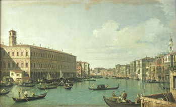 Reprodução do quadro The Grand Canal from the Rialto Bridge