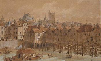 Reprodução do quadro The Grand Chatelet and the Pont aux Meuniers