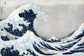 Reprodução do quadro The Great Wave off Kanagawa, from the series '36 Views of Mt. Fuji' ('Fugaku sanjuokkei')