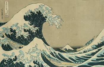 Reprodução do quadro The Great Wave off Kanagawa, from the series '36 Views of Mt. Fuji' ('Fugaku sanjuokkei') pub. by Nishimura Eijudo