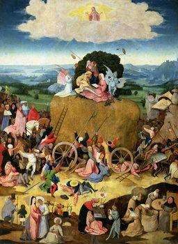 Reprodução do quadro The Haywain: central panel of the triptych, c.1500