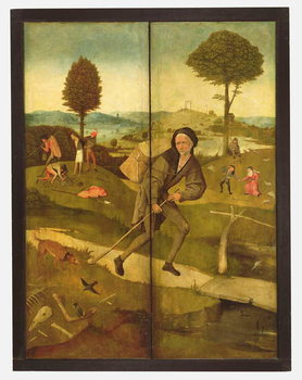 Reprodução do quadro The Haywain, with panels closed showing Everyman walking the Path of Life