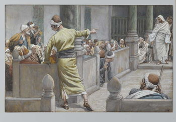 Reprodução do quadro The Healed Blind Man Tells His Story to the Jews, illustration from 'The Life of Our Lord Jesus Christ', 1886-96