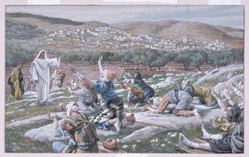 Reprodução do quadro The Healing of the Lepers, illustration for 'The Life of Christ', c.1886-94
