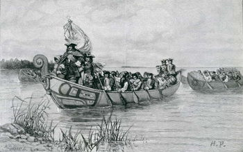 Reprodução do quadro The Landing of Cadillac, illustration from 'The City of the Strait' by Edmund Kirke, pub. in Harper's Magazine, 1886