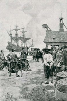 Reprodução do quadro The Landing of Negroes at Jamestown from a Dutch Man-of-War, 1619, illustration from 'Colonies and Nation' by Woodrow Wilson, pub. in Harper's Magazine, 1901