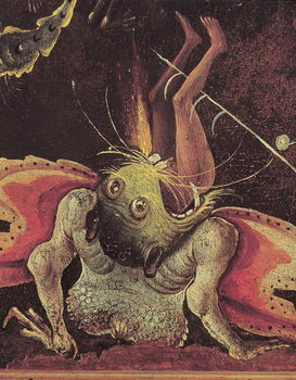 Reprodução do quadro The Last Judgement, detail of a man being eaten by a monster, c.1504
