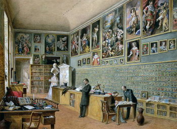 Reprodução do quadro The Library, in use as an office of the Ambraser Gallery in the Lower Belvedere, 1879