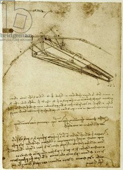 Reprodução do quadro The Machine for flying by Leonardo da Vinci  - Codex Atlantique