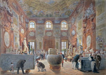 Reprodução do quadro The Marble Room with Egyptian, Greek and Roman Antiquities of the Ambraser Gallery in the Lower Belvedere, 1876