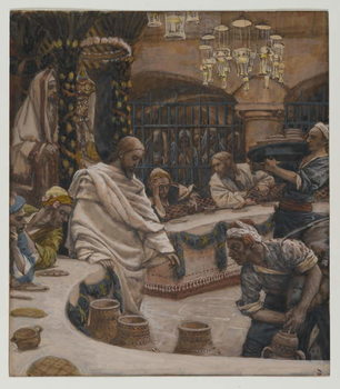 Reprodução do quadro The Marriage at Cana, illustration from 'The Life of Our Lord Jesus Christ'