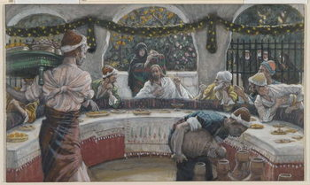 Reprodução do quadro The Meal in the House of the Pharisee, illustration from 'The Life of Our Lord Jesus Christ'