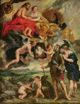Reprodução do quadro The Medici Cycle: Henri IV (1553-1610) Receiving the Portrait of Marie de Medici (1573-1642) 1621-25