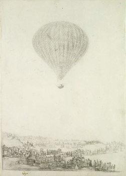 Reprodução do quadro The Montgolfier Brothers, c.1800-08