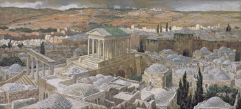 Reprodução do quadro The Pagan Temple Built by Hadrian on the Site of Calvary, illustration for 'The Life of Christ', c.1886-94