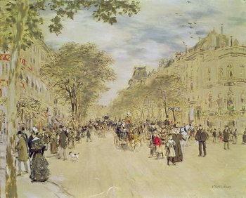 Reprodução do quadro The Pavillon de Hanovre and the Boulevard des Italiens, Paris, after 1870